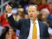 May 5, 2015 - Atlanta, GA, USA - Atlanta Hawks head coach Mike Budenholzer sends in a defensive call against the Washington Wizards during Game 2 in the Eastern Conference semifinals on Tuesday, May 5, 2015, at Philips Arena in Atlanta. The Hawks' 106-90 win evens the series, 1-1. (Credit Image: � Curtis Compton/TNS/ZUMA Wire)