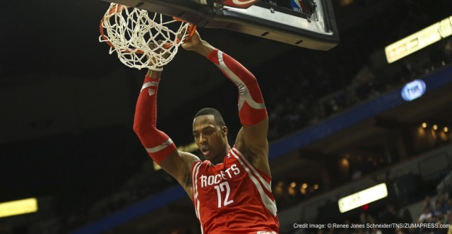 Feb. 10, 2014 - Minneapolis, MN, USA - Houston Rockets' Dwight Howard dunks the ball against Minnesota Timberwolves' Kevin Love during the second half at the Target Center in Minneapolis, Minn., on Monday, Feb. 10, 2014. (Credit Image: � Renee Jones Schneider/TNS/ZUMAPRESS.com)