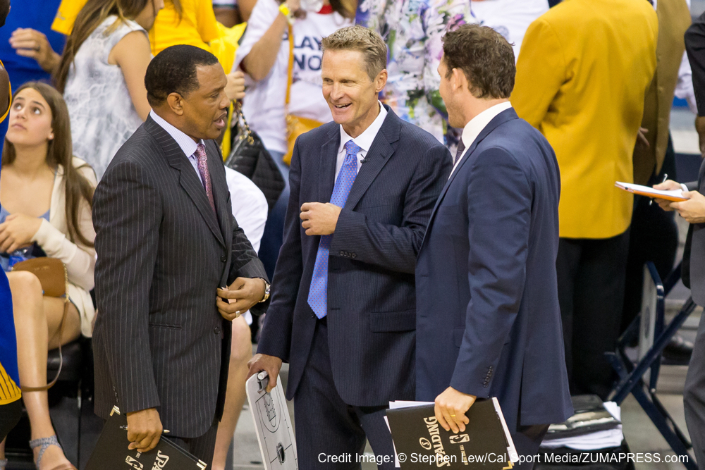 April 25, 2015: Golden State Warriors head coach Steve Kerr during the game between Golden State Warriors and New Orleans Pelicans at the Smoothie King Center in New Orleans, LA. Stephen Lew/CSM(Credit Image: � Stephen Lew/Cal Sport Media/ZUMAPRESS.com)