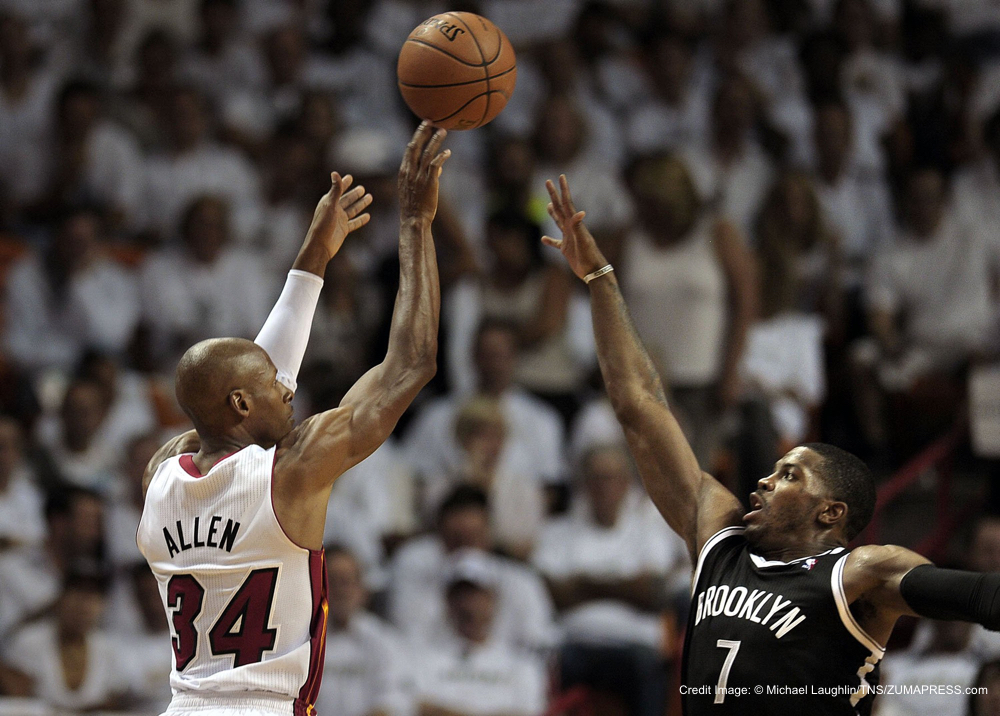 May 6, 2014 - Miami, FL, USA - Miami Heat guard Ray Allen shoots over Brooklyn Nets guard Joe Johnson during the second quarter in Game 1 of the Eastern Conference semifinals at the AmericanAirlines Arena in Miami on Tuesday, May 6, 2014. (Credit Image: � Michael Laughlin/TNS/ZUMAPRESS.com)