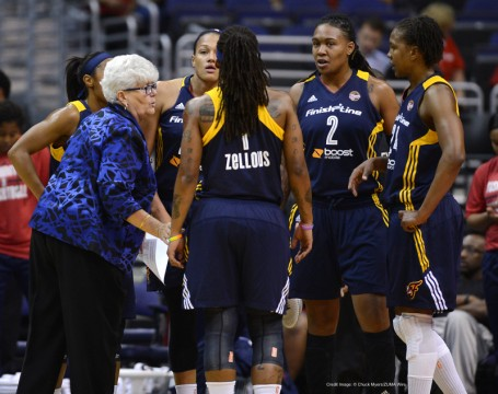 Aug. 23, 2014 - Washington, DC, USA - 20140823 - Indiana Fever head coach Lin Dunn, left, speaks to her players during the first half of Game 2 of the WNBA Eastern Conference Semifinals against the Washington Mystics at the Verizon Center in Washington. (Credit Image: � Chuck Myers/ZUMA Wire)
