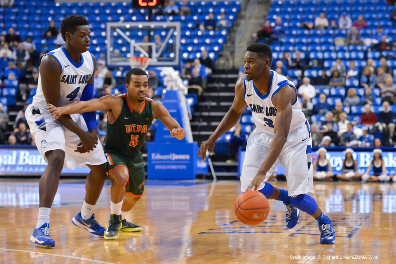 Dec. 17, 2014 - St. Louis, Missouri, U.S - St. Louis Billiken guard ASH YACOUBOU (3) uses the screen from St. Louis Billiken forward MILIK YARBROUGH (4) to get away from University of Texas-Pan America guard SHAQUILLE BOGA (5) during a non conference game  between St. Louis University Billikens and the University of Texas-Pan American (UTPA) played in St. Louis, MO. at Chaifetz Arena.  Where St. Louis defeated UTPA 75-69 (Credit Image: © Richard Ulreich/ZUMA Wire)