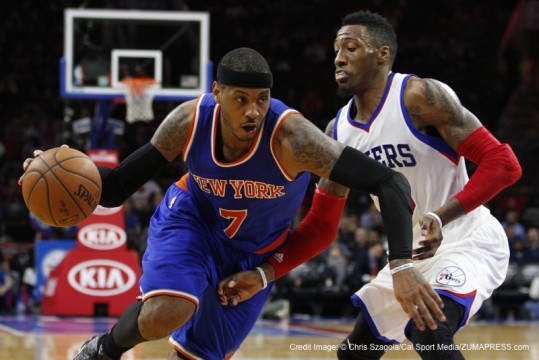 January 21, 2015: New York Knicks forward Carmelo Anthony (7) drives to the basket against Philadelphia 76ers forward Robert Covington (33) during the NBA game between the New York Knicks and the Philadelphia 76ers at the Wells Fargo Center in Philadelphia, Pennsylvania. The New York Knicks won 98-91.(Credit Image: � Chris Szagola/Cal Sport Media/ZUMAPRESS.com)