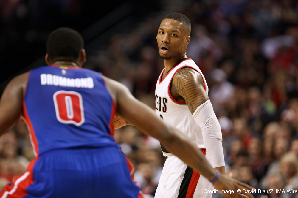 March 13, 2015 - DAMIAN LILLARD (0) looks to pass. The Portland Trail Blazers play the Detroit Pistons at the Moda Center on March 13, 2015. (Credit Image: � David Blair/ZUMA Wire)