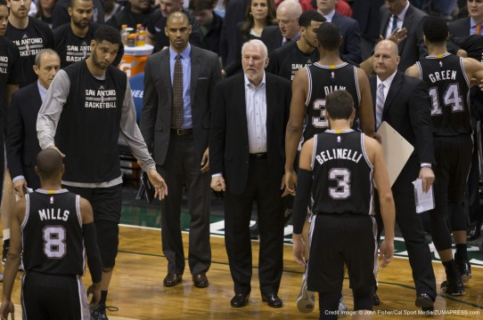 March 18, 2015: San Antonio Spurs head coach Gregg Popovich calls for a timeout during the NBA game between the San Antonio Spurs and the Milwaukee Bucks at the BMO Harris Bradley Center in Milwaukee, WI. Spurs defeated the Bucks 114-103. John Fisher/CSM(Credit Image: © John Fisher/Cal Sport Media/ZUMAPRESS.com)