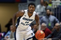 January 25, 2015: Rhode Island Rams guard Biggie Minnis (10) on the fastbreak during the first half of an NCAA basketball game between the St. Bonaventure Bonnies and Rhode Island Rams at the Ryan Center in Kingston, Rhode Island. Rhode Island defeated St. Bonaventure 53-48. Anthony Nesmith/Cal Sport Media(Credit Image: © Anthony Nesmith/Cal Sport Media/ZUMAPRESS.com)