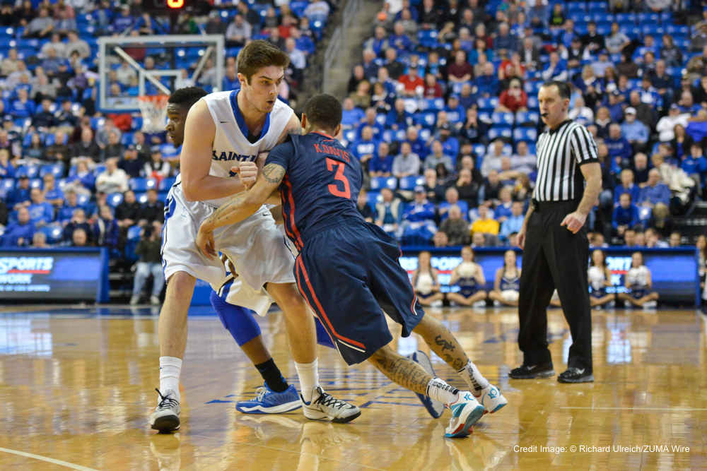 Feb. 10, 2015 - St. Louis, Missouri, U.S - Dayton Flyers guard KYLE DAVIS (3) runs into the screen of St. Louis Billiken forward TANNER LANCONA (15) during a conference game  between St. Louis University Billikens and Dayton Flyers played in St. Louis, MO. at Chaifetz Arena.  Where Dayton defeated St. Louis 51-44 (Credit Image: © Richard Ulreich/ZUMA Wire)