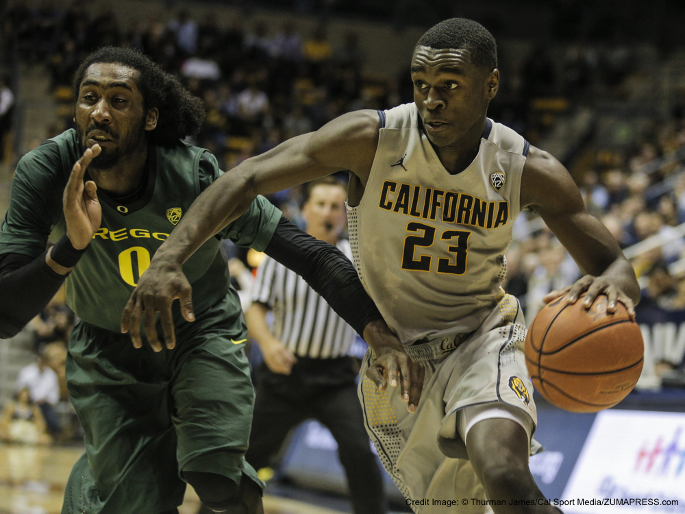 Feb 25 2014 - Berkeley U.S. CA - California G # 23 Jabari Bird drive to the baseline pass Ducks # 0 Dwayne Benjamin during NCAA Men's Basketball game between Oregon Ducks and California Golden Bears 69-80 lost at Hass Pavilion Berkeley Calif.(Credit Image: © Thurman James/Cal Sport Media/ZUMAPRESS.com)