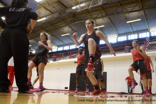 March 17, 2015 - U.S. - SPORTS -- The Lobos' Josie Greenwood, Bryce Owens, Brooke Allemand and Laneah Bryan, from left, do agility drills during practice in Johnson Gym on Tuesday, March 17, 2015. The Lobo's will play North Dakota in the Women's Basketball Invitational game on Wednesday, March 18, 2015. (Credit Image: � Greg Sorber/Albuquerque Journal/ZUMA Wire)