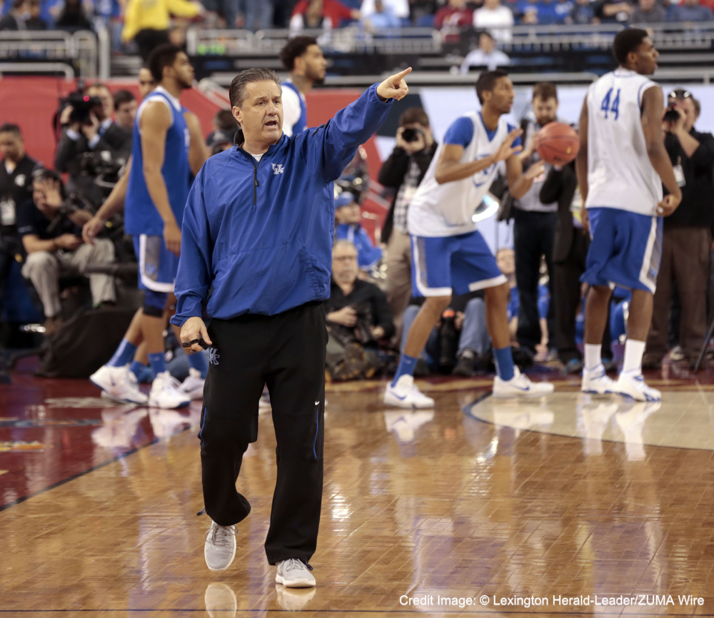 April 3, 2015 - Indianapolis, IN, USA - Kentucky Wildcats head coach John Calipari made a point as the University of Kentucky basketball team practiced at Lucas Oil Stadium in Indianapolis, In., Friday, April 03, 2015. UK plays Wisconsin Saturday night in the National semifinals. Photo by Charles Bertram | Staff. (Credit Image: © Lexington Herald-Leader/ZUMA Wire)