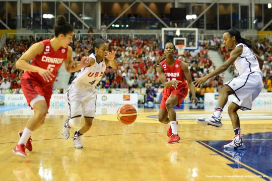 July 21, 2015 - Toronto, Ontario, Canada - July 20, 2015 - Toronto, Canada - Tamara Tatham of Canada, makes a pass down low against the USA in the gold medal game for women's basketball at the Toronto 2015 Pan Am Games. (Credit Image: � James Macdonald via ZUMA Wire)