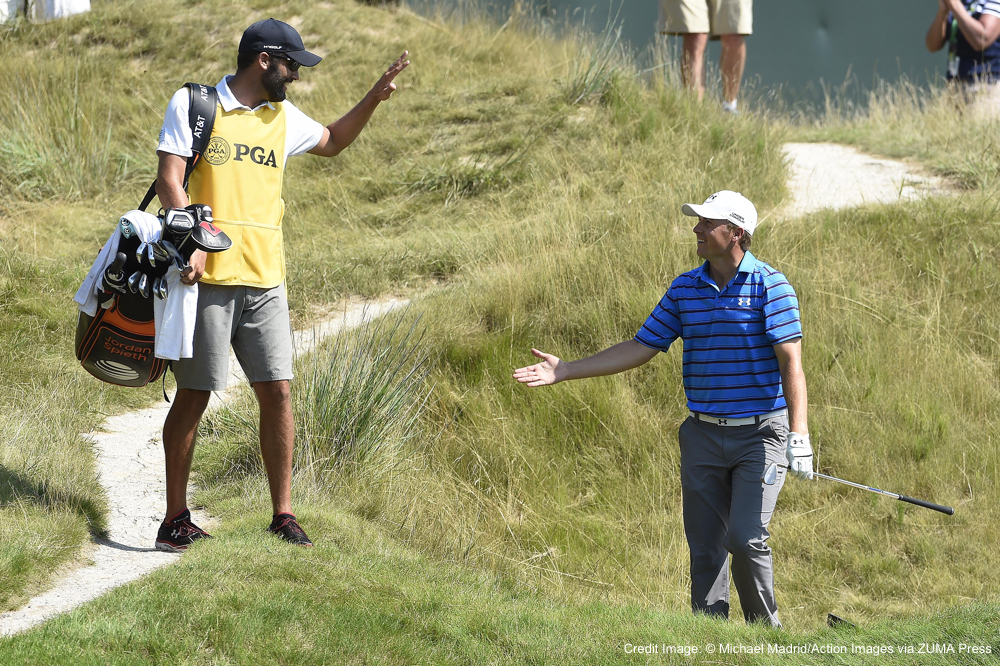 Aug. 18, 2015 - Sheboygan, WI, United States - Aug 14, 2015; Sheboygan, WI, USA;  Jordan Spieth celebrates with his caddie Michael Greller after holing a bunker shot on the 18th hole during the second round of the 2015 PGA Championship golf tournament at Whistling Straits. (Credit Image: � Michael Madrid/Action Images via ZUMA Press)