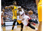 May 24, 2014 - Miami, Florida, U.S. - Miami Heat forward LeBron James (6) drives the lane before getting fouled by Indiana Pacers forward Paul George (24) at AmericanAirlines Arena in Miami, Florida on May 24, 2014. (Credit Image: © Allen Eyestone/The Palm Beach Post/ZUMAPRESS.com)