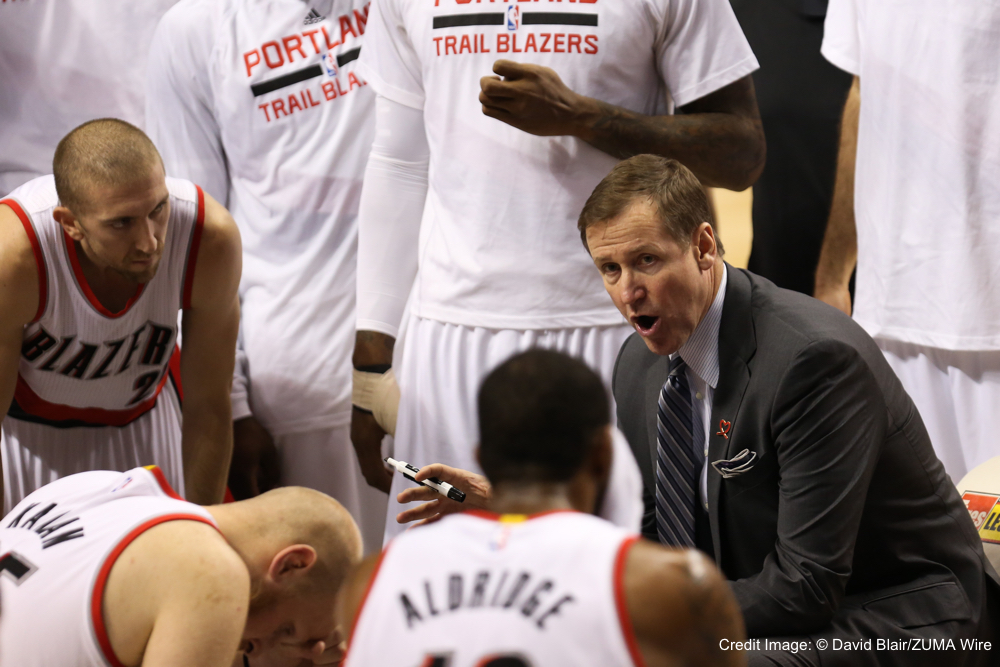 Nov. 30, 2014 - TERRY STOTTS coaches during a timeout. The Portland Trail Blazers play the Minnesota Timberwolves at the Moda Center on November 30, 2014. (Credit Image: � David Blair/ZUMA Wire)