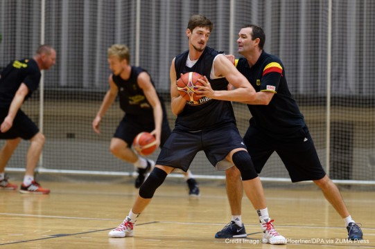 Aug. 5, 2015 - Rotenburg An Der Fulda, Hesse, Germany - Germany's Tibor Pleiss and assistant Alex Jense coach in action during the practice session of Germany's national basketball team in Rotenburg an der Fulda, Germany, 5 August 2015. Team Germany is preparing for the European Championships which take place from 05 September to 20 September 2015. Photo: Swen Pfoertner/dpa (Credit Image: � Swen PföRtner/DPA via ZUMA Press)