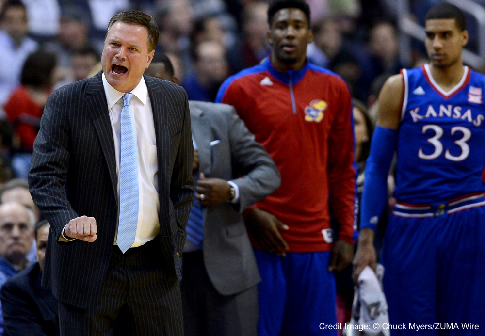 Dec. 10, 2014 - Washington, DC, USA - 201411210 - Kansas head coach Bill Self reacts to a call in the first half of an NCAA men's basketball game against Georgetown at the Verizon Center in Washington. Kansas defeated Georgetown, 75-70. (Credit Image: � Chuck Myers/ZUMA Wire)