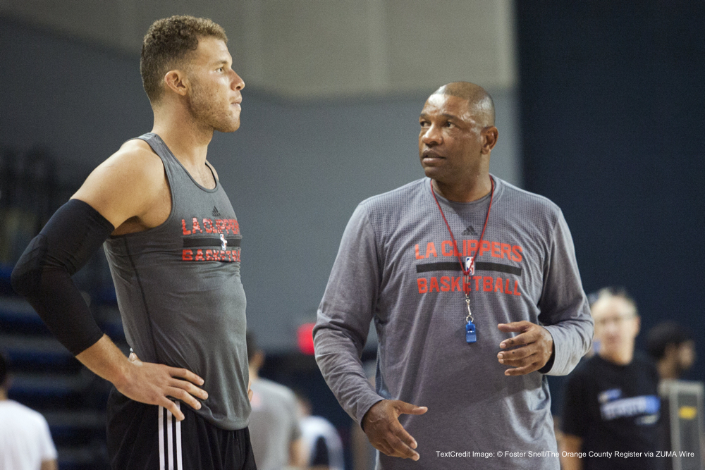 Sept. 26, 2015 - Irvine, CA, UNITED STATES - Clippers head coach Glenn ''Doc'' Rivers, right, talks with Blake Griffin during a practice session at UCI on Saturday....????///ADDITIONAL INFORMATION: 9/26/15 - FOSTER SNELL, ORANGE COUNTY REGISTER -  – Clippers practice day 1 of 5 at UCI. (Credit Image: � Foster Snell/The Orange County Register via ZUMA Wire)