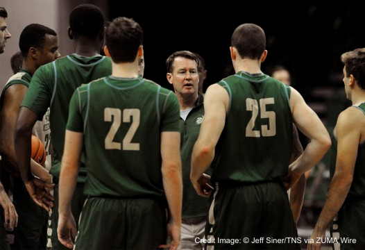 Oct. 15, 2015 - Charlotte, NC, USA - Charlotte head basketball coach Mark Price, middle, talks with his team at half court prior to the Green and White scrimmage on Thursday, Oct. 15, 2015, at Halton Arena in Charlotte, N.C. (Credit Image: � Jeff Siner/TNS via ZUMA Wire)