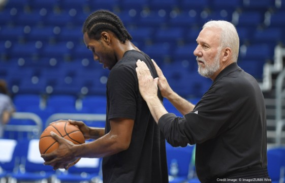 Oct. 7, 2014 - Oct. 7, 2014 - Basketball Berlin 07.10.2014 NBA Preseason Saison 2014/2015 San Antonio Spurs Training Kawhi Leonard Trainer Gregg Popovich....Basketball Berlin 07 10 2014 NBA Preseason Season 2014 2015 San Antonio Spurs Training Kawhi Leonard team manager Gregg Popovich (Credit Image: � Imago/ZUMA Wire)
