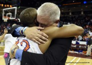 March 7, 2015 - Columbia, South Carolina, U.S. - Midland Valley head coach Mark Snelgrove gets a hug from #12 Tayler Wade following Midland Valley's 62-56 win over AC Flora in the South Carolina Class AAA High School Championship game, Saturday, March 7, 2015, in Columbia, South Carolina. TODD BENNETT/STAFF (Credit Image: © Todd Bennett/Staff/The Augusta Chronicle/ZUMA Wire)