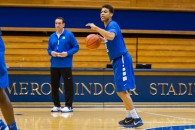 NCAA Basketball, 2015: Duke Blue Devils guard Derryck Thornton #12 in action during the Duke Blue Devils opening practice in Cameron Indoor Stadium in Durham, NC. Reagan Lunn/CSM(Credit Image: � Reagan Lunn/CSM via ZUMA Wire)