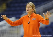 March 16, 2012 - Bridgeport, CT, USA - Princeton head coach Courtney Banghart gives instructions to her players during an open practice Friday, March 16, 2012, as the Tigers prepare for their first round game of the NCAA women's basketball tournament at Webster Bank Arena at Harbor Yard in Bridgeport, Connecticut. (Credit Image: � John Woike/Hartford Courant/TNS/ZUMAPRESS.com)