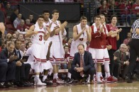 January 2, 2016: Wisconsin coach Greg Gard and the Wisconsin bench look on during the NCAA Basketball game between the Rutgers Scarlet Knights and the Wisconsin Badgers at the Kohl Center in Madison, WI. Wisconsin defeated Rutgers 79-57. John Fisher/CSM(Credit Image: © John Fisher/CSM via ZUMA Wire)