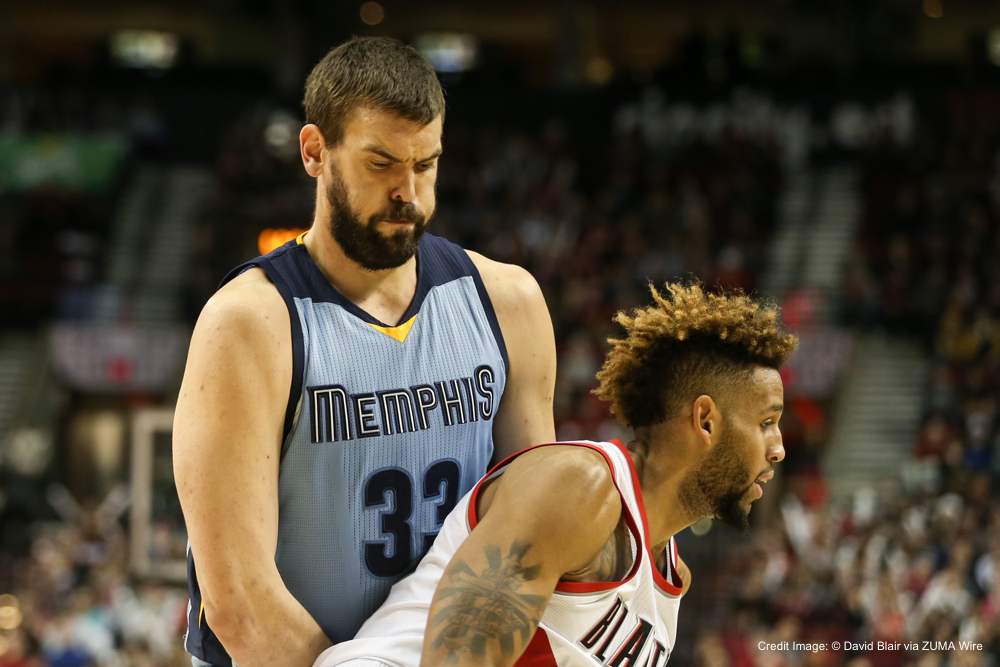 Jan. 4, 2016 - MARC GASOL (33) sets a screen. The Portland Trail Blazers hosted the Memphis Grizzlies at the Moda Center in Portland, OR, on Janurary 4th 2016.  Photo by David Blair (Credit Image: � David Blair via ZUMA Wire)