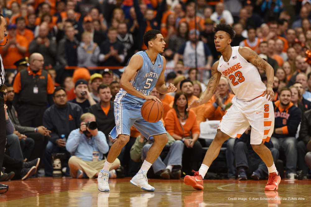 January 9 2016: North Carolina guard Marcus Paige (5) and Syracuse guard Malachi Richardson (23) in action as North Carolina defeated Syracuse 84-73 in front of 26,811 fans in an ACC matchup at the Carrier Dome in Syracuse, NY. Photo by Alan Schwartz/Cal Sport Media(Credit Image: © Alan Schwartz/CSM via ZUMA Wire)