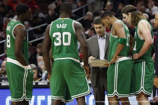 December 15, 2014: Boston Celtics head coach Brad Stevens goes over the play with his team during the NBA game between the Boston Celtics and the Philadelphia 76ers at the Wells Fargo Center in Philadelphia, Pennsylvania. The Boston Celtics won 105-87.(Credit Image: � Christopher Szagola/Cal Sport Media/ZUMAPRESS.com)