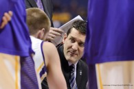 March 7, 2014 - St. Louis, Missouri, U.S - University of Northern Iowa head coach BEN JACOBSON talks to one of his players in the huddle at the Missouri Valley Conference Arch Madness Tournament second round where Southern Illinois beat University of Northern Iowa 63-58 (Credit Image: © Richard Ulreich/ZUMAPRESS.com)