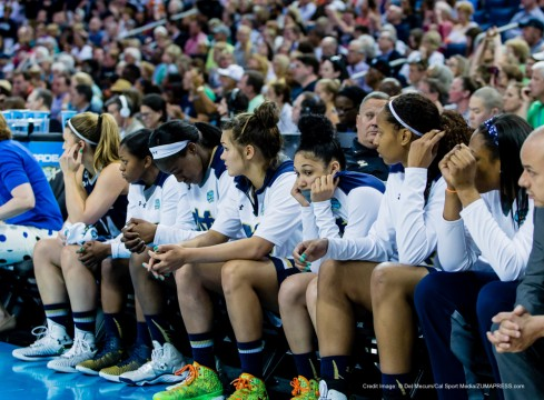 April 7, 2015 - Tampa FL, USA - Notre Dame's bench starting to realize the outcome in the second half during the NCAA Women's Championship Game between Notre Dame and Connecticut at Amalie Arena in Tampa FL. (Credit Image: © Del Mecum/Cal Sport Media/ZUMAPRESS.com)