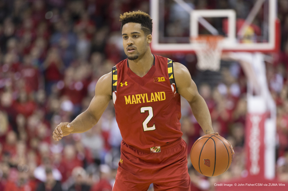 January 9, 2016: Maryland Terrapins guard Melo Trimble #2 in action during the NCAA Basketball game between the Maryland Terrapins and the Wisconsin Badgers at the Kohl Center in Madison, WI. Maryland defeated Wisconsin 63-60. John Fisher/CSM(Credit Image: © John Fisher/CSM via ZUMA Wire)