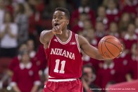 January 26, 2016: Indiana Hoosiers guard Yogi Ferrell #11 points out instruction during the NCAA Basketball game between the Indiana Hoosiers and the Wisconsin Badgers at the Kohl Center in Madison, WI. Wisconsin defeated Indiana in overtime 82-79. John Fisher/CSM(Credit Image: © John Fisher/CSM via ZUMA Wire)