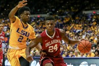 January 30, 2016: Oklahoma Sooners guard Buddy Hield (24) posts up against LSU Tigers guard Antonio Blakeney (2) during an NCAA basketball game between the Oklahoma Sooners and the LSU Tigers at the Pete Maravich Assembly Center in Baton Rouge, LA. Oklahoma Sooners defeat LSU Tigers 77-75. Stephen Lew/CSM(Credit Image: � Stephen Lew/CSM via ZUMA Wire)