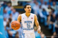 UNC guard Marcus Paige (5) during the NCAA Basketball game between the Miami Hurricanes and the North Carolina Tar Heels at the Dean E. Smith Center on February 20, 2016 in Chapel Hill, North Carolina. Jacob Kupferman/CSM(Credit Image: © Jacob Kupferman/CSM via ZUMA Wire)
