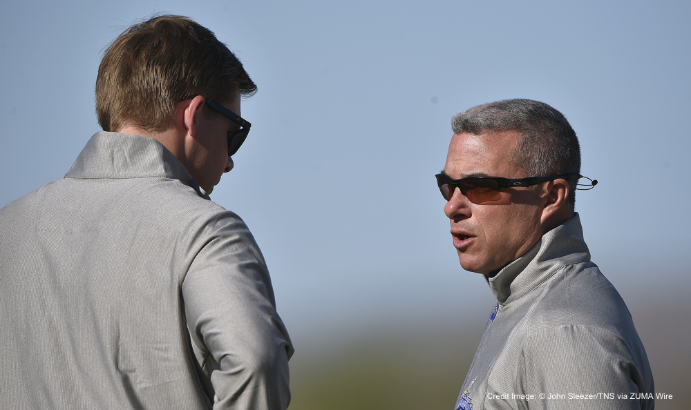 Feb. 20, 2016 - Surprise, AZ, USA - Kansas City Royals general manager Dayton Moore, right, visits with Baseball Operations Assistant/Player Development Chris Getz during a spring training workout on Saturday, Feb. 20, 2016, in Surprise, Ariz. (Credit Image: � John Sleezer/TNS via ZUMA Wire)