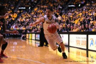 February 27,2016: Wichita State Shockers guard Fred VanVleet (23) drives to the basket in the first half during the NCAA Basketball game between the Illinois State Redbirds and the Wichita State Shockers at Charles Koch Arena in Wichita, Kansas. Kendall Shaw/CSM(Credit Image: © Kendall Shaw/CSM via ZUMA Wire)