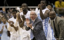 February 29, 2016 - Chapel Hill, NC, USA - North Carolina coach Roy Williams applauds his team's performance during the first half on Monday, Feb. 29, 2016, at the Smith Center in Chapel Hill, N.C. (Credit Image: � Robert Willett/TNS via ZUMA Wire)