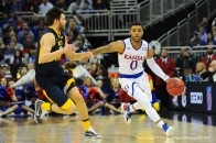 March12,2016: Kansas Jayhawks guard Frank Mason III (0) brings the ball up court during the NCAA Big 12 Championship Men's Basketball championship game between the West Virginia Mountaineers and the Kansas Jayhawks at the Sprint Center in Kansas City, Missouri. KU wins the Big 12 Tournament 81-71 over West Virginia. Kendall Shaw/CSM(Credit Image: © Kendall Shaw/CSM via ZUMA Wire)