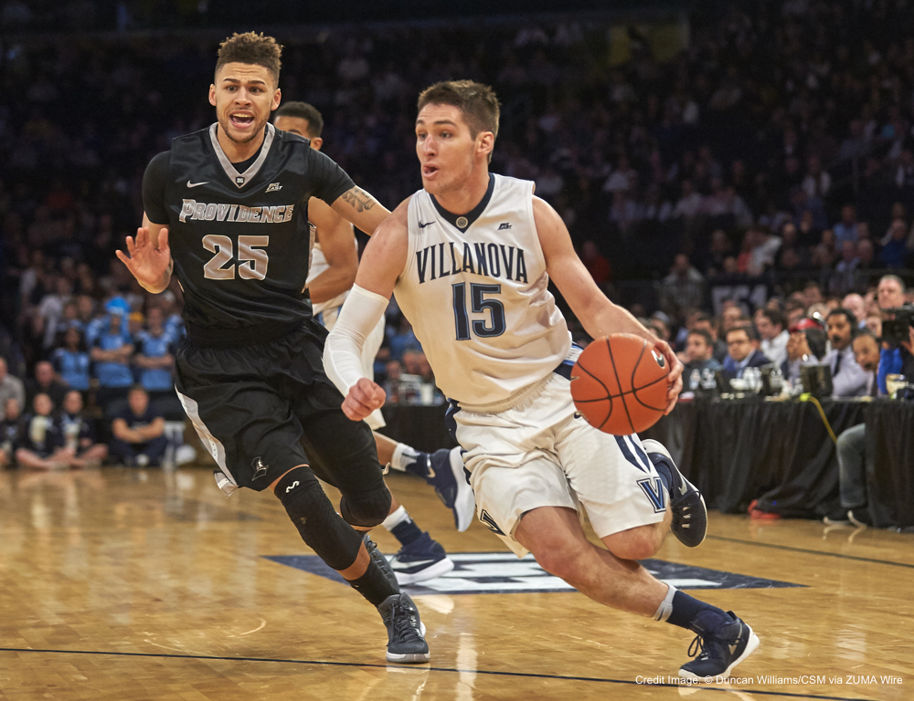 March 12, 2016 - New York, New York, U.S. - Villanova Wildcats' guard Ryan Arcidiacono (15) penetrates toward the basket as Providence Friars' guard Drew Edwards (25) tries to defend in the first half during semifinals at the Big East Tournament at Madison Square Garden in New York City. Villanova defeated Providence 76-68. Duncan Williams/CSM(Credit Image: � Duncan Williams/CSM via ZUMA Wire)