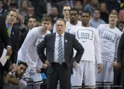 March 13, 2016 - Indianapolis, IN. U.S. - Michigan State Spartans head coach Tom Izzo and the Spartan bench watch as Purdue jumps out into the lead in the first half during the finals of the Big Ten Conference mens basketball tournament between Purdue and Michigan State at the Banker's Life Fieldhouse in Indianapolis, IN...Michigan State 66, Purdue 62.Mark Davis/Cal Sport Media(Credit Image: © Mark Davis/CSM via ZUMA Wire)
