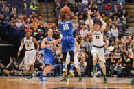 March 18, 2016 - St. Louis, Missouri, U.S - Michigan State Spartans guard MATT MCQUAID (20) tries to block the three point shot of Middle Tennessee Blue Raiders guard JAQAWN RAYMOND (10)during the first round of the Midwest Region in the 2016 NCAA Men's Basketball Tournament, where #15 Middle Tennessee State leads #2 Michigan State by the score of 41-35 at half time  , held at The Scottrade Center in St. Louis, MO (Credit Image: © Richard Ulreich via ZUMA Wire)