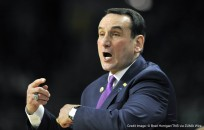 March 19, 2016 - Providence, RI, USA - Duke head coach Mike Krzyzewski yells to his players during action against Yale in the second round of the NCAA Tournament at the Dunkin Donuts Center in Providence, R.I., on Saturday, March 19, 2016. Duke advanced, 71-64. (Credit Image: � Brad Horrigan/TNS via ZUMA Wire)