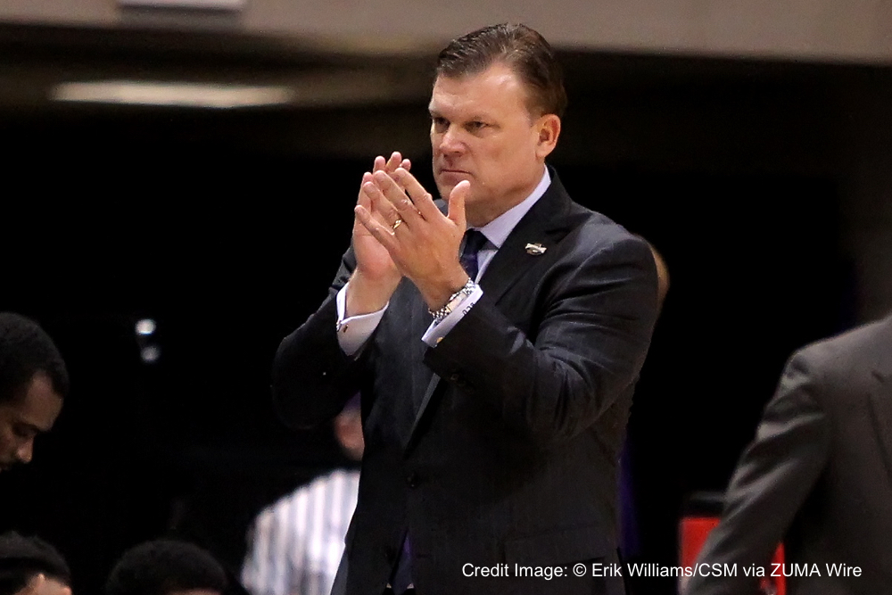 MAR 11 2016: Stephen F. Austin head coach Brad Underwood applauds the action from the bench during the men's semifinal game of the Southland Basketball tournament between Stephen F. Austin and Houston Baptist from the Merrell Center in Katy, TX. Credit image: Erik Williams/Cal Sport Media.(Credit Image: © Erik Williams/CSM via ZUMA Wire)