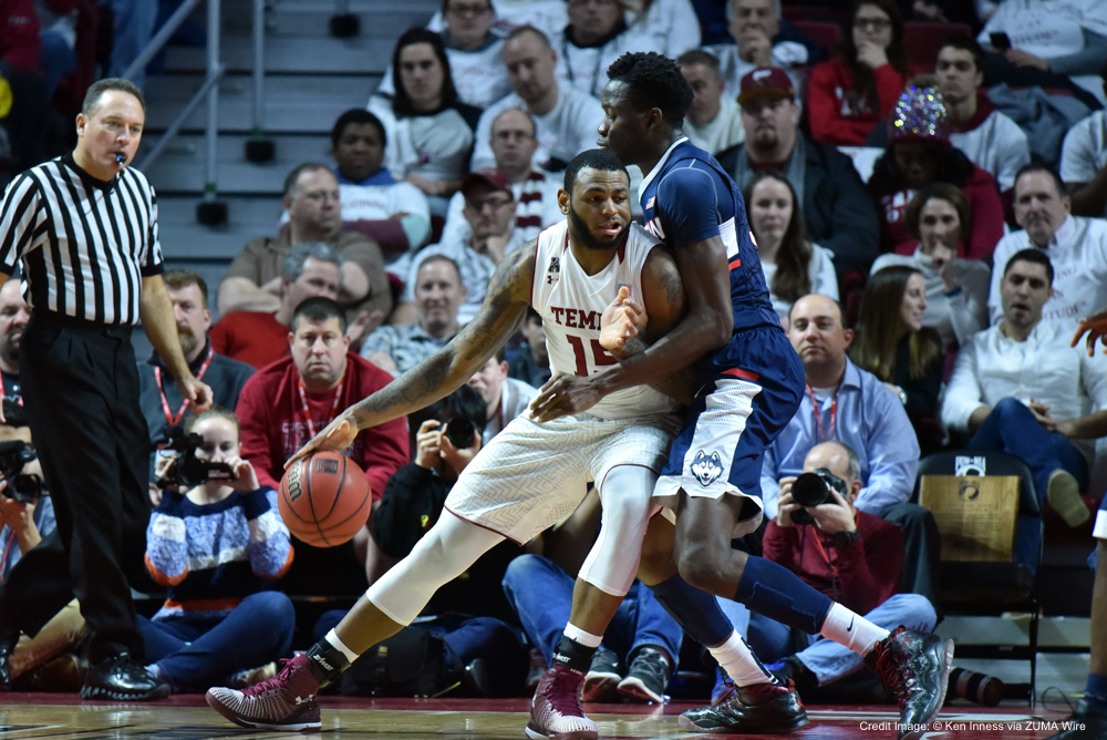 Feb. 11, 2016 - Philadelphia, Pennsylvania, U.S - Temple Owls forward JAYLEN BOND (15) tries to back down Connecticut Huskies center AMIDA BRIMAH (35) in the post during the NCAA basketball game played at the Liacouras Center in Philadelphia. Temple came back to defeat the Connecticut Huskies 63-58. (Credit Image: © Ken Inness via ZUMA Wire)