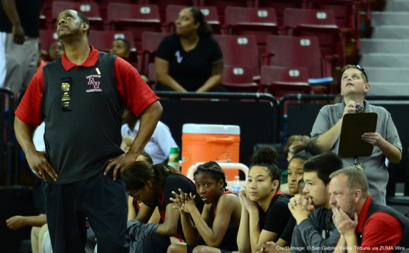 March 26, 2016 - Sacramento, California, U.S. - Antelope Valley head coach Deon Price looks toward the scoreboard as Cardinal Newman defeated Antelope Valley 39-37 during a CIF State IV Division girls basketball game at Sleep Train Arena in Sacramento, Calif., on Saturday, March 26, 2016. .(Photo by Keith Birmingham/ Pasadena Star-News) (Credit Image: © San Gabriel Valley Tribune via ZUMA Wire)