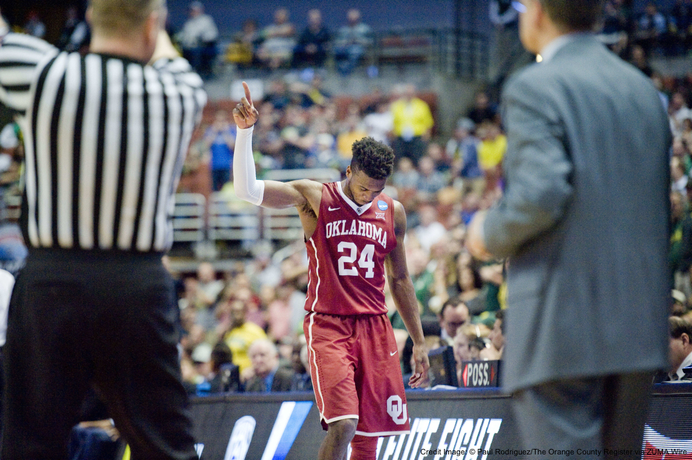 March 26, 2016 - Anaheim, CA, USA - Oklahoma guard Buddy Hield walks off the court with seconds left in the NCAA West Regional Championship game at the Honda Center in Anaheim. The Sooners beat Oregon to advance to the Final Four... ///ADDITIONAL INFO: ncaa.0327 - 3/26/16 - Photo by PAUL RODRIGUEZ - Oregon vs. Oklahoma in the NCAA West Region Championship game at Honda Center. (Credit Image: � Paul Rodriguez/The Orange County Register via ZUMA Wire)