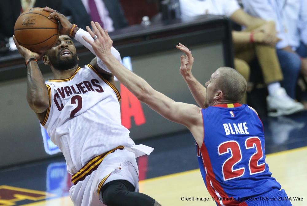 April 17, 2016 - Cleveland, OH, USA - Detroit Pistons' Steve Blake defends against Cleveland Cavaliers' Kyrie Irving on Sunday, April 17, 2016, at Quicken Loans Arena in Cleveland, Ohio. (Credit Image: � Kirthmon F. Dozier/TNS via ZUMA Wire)