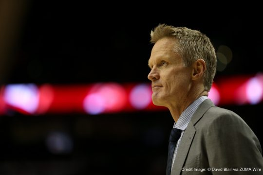 Feb. 19, 2016 - STEVE KERR looks on before the game. The Portland Trail Blazers hosted the Golden State Warriors at the Moda Center on February 19, 2016.  Photo by David Blair (Credit Image: � David Blair via ZUMA Wire)